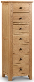 Julian Bowen Marlborough Oak Chest of Drawer - Narrow 7 Drawers