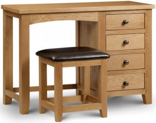 Julian Bowen Marlborough Oak Dressing Table - Single Pedestal 4 Drawers