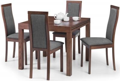 Julian Bowen Melrose Walnut Extending Dining Table and 4 Chairs
