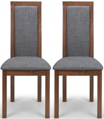 Julian Bowen Melrose Walnut and Grey Fabric Dining Chair (Pair)