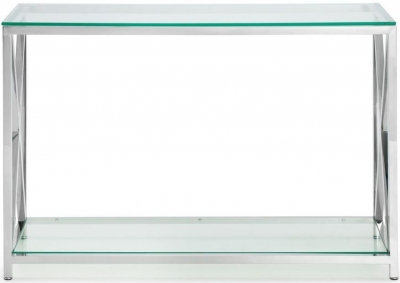 Julian Bowen Miami Glass and Chrome Console Table