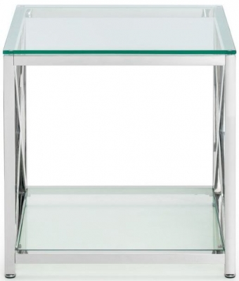 Julian Bowen Miami Glass and Chrome Lamp Table