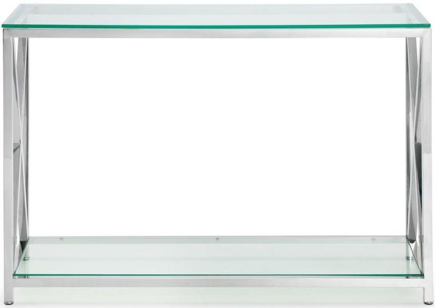 Julian Bowen Miami Glass and Chrome Console Table