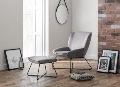 Julian Bowen Mila Grey Velvet Accent Chair and Stool