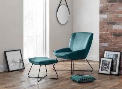 Julian Bowen Mila Teal Velvet Accent Chair and Stool