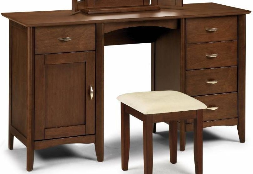 Julian Bowen Minuet Wenge Dressing Table - Twin Pedestal 1 Door 5 Drawers