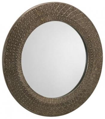 Julian Bowen Cadence Ornate Pewter Round Wall Mirror - 60cm x 60cm