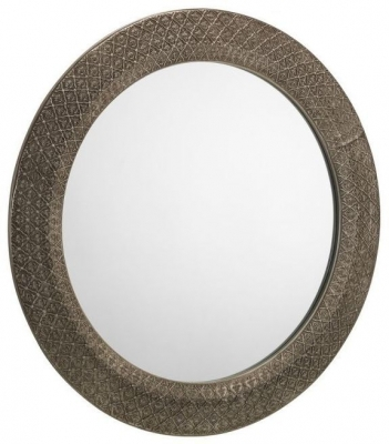 Julian Bowen Cadence Ornate Pewter Round Wall Mirror - 80cm x 80cm