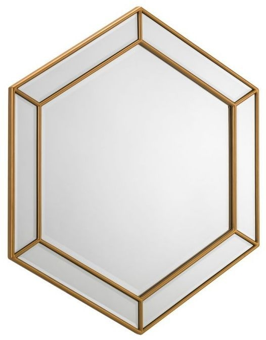 Julian Bowen Melody Gold Hexagonal Wall Mirror - 80cm x 80cm