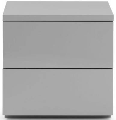 Julian Bowen Monaco Grey High Gloss 2 Drawer Bedside Cabinet