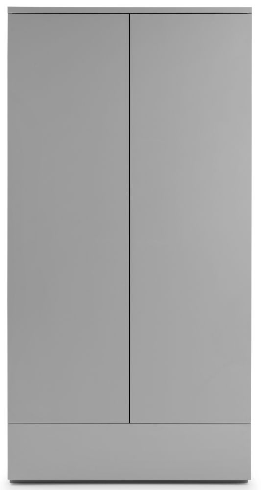 Julian Bowen Monaco Grey High Gloss 2 Door 1 Drawer Wardrobe