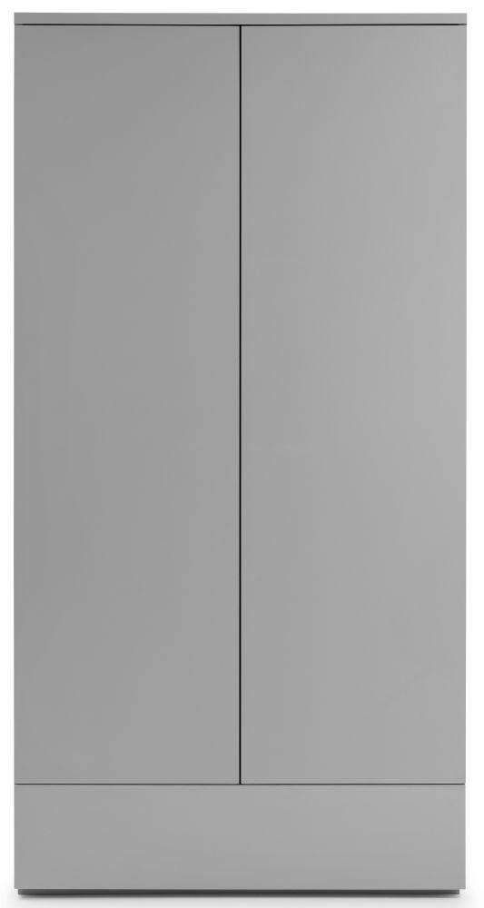 Julian Bowen Monaco Grey High Gloss 2 Door 1 Drawer Wardrobe