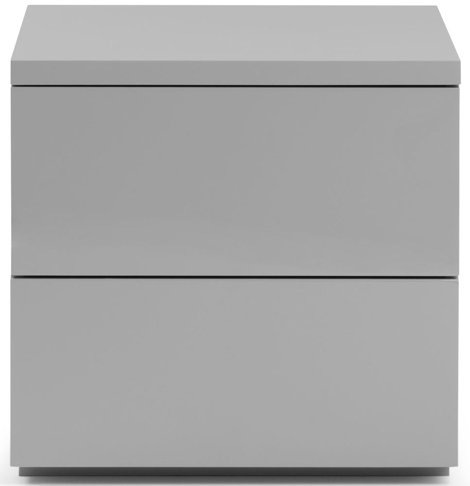 Julian Bowen Monaco Grey High Gloss 2 Drawer Bedside Cabinet