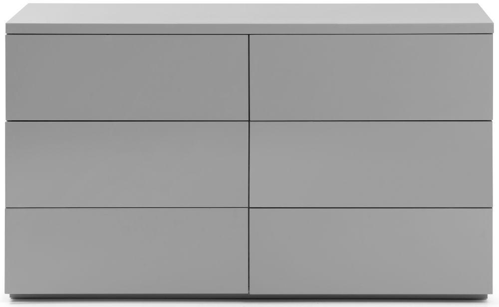 Julian Bowen Monaco Grey High Gloss 6 Drawer Wide Chest