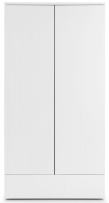 Julian Bowen Monaco White High Gloss 2 Door 1 Drawer Wardrobe