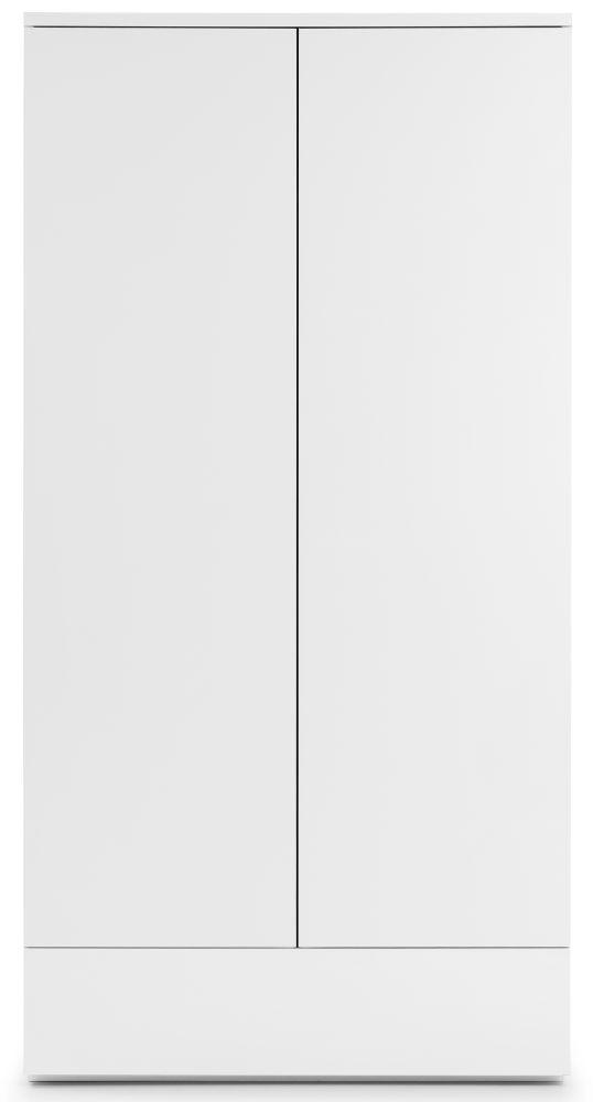 Julian Bowen Monaco White High Gloss 2 Door 1 Drawer Wardrobe