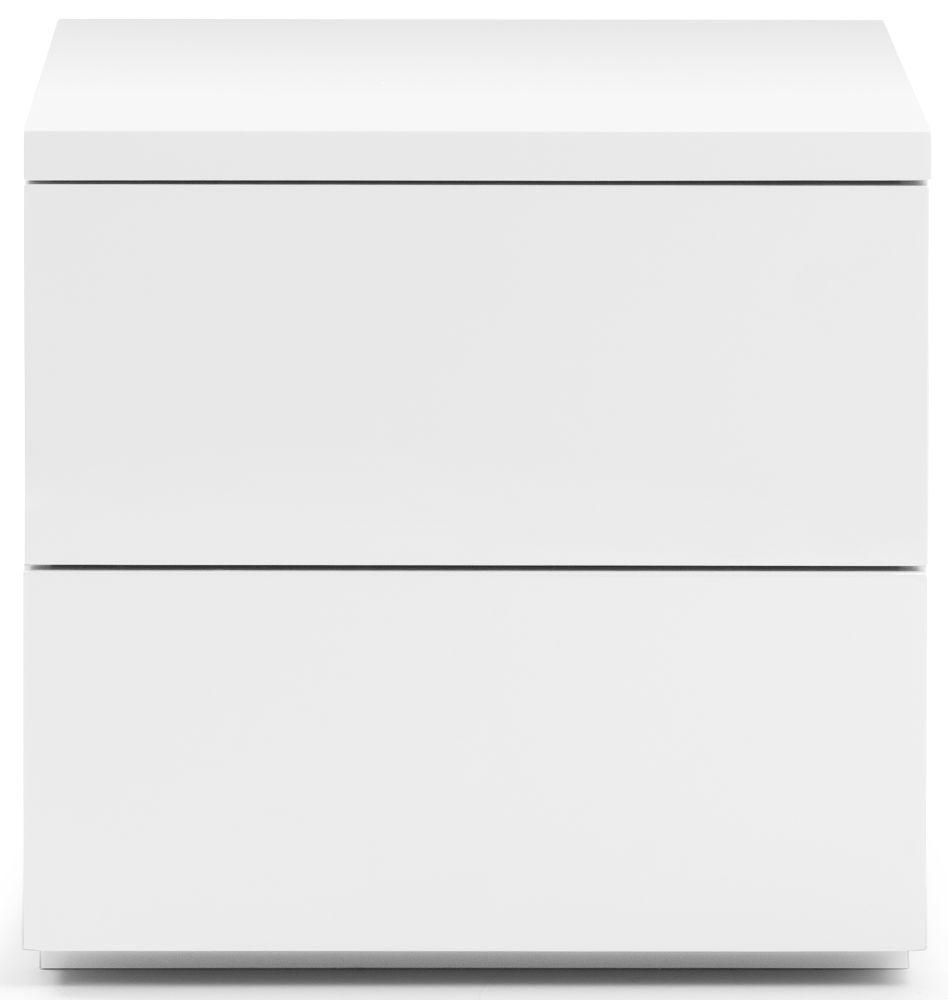 Julian Bowen Monaco White High Gloss 2 Drawer Bedside Cabinet