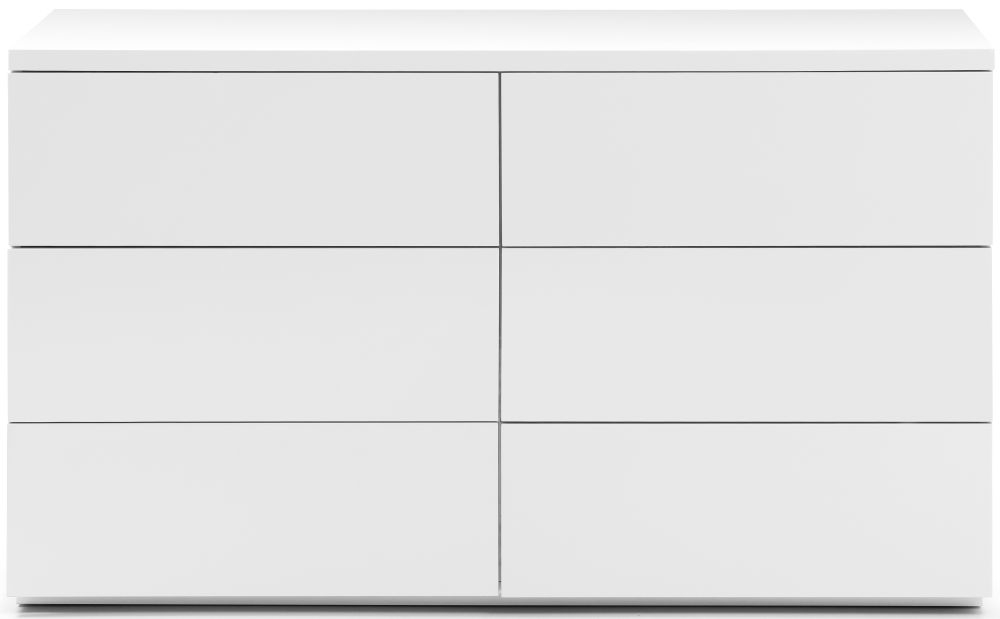 Julian Bowen Monaco White High Gloss 6 Drawer Wide Chest