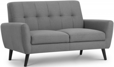 Julian Bowen Monza Grey Linen Fabric 2 Seater Sofa