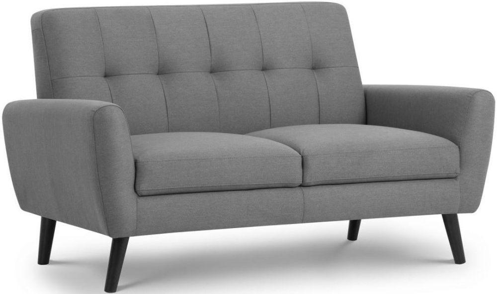 Julian Bowen Monza Grey Linen Fabric 2 Seater Sofa
