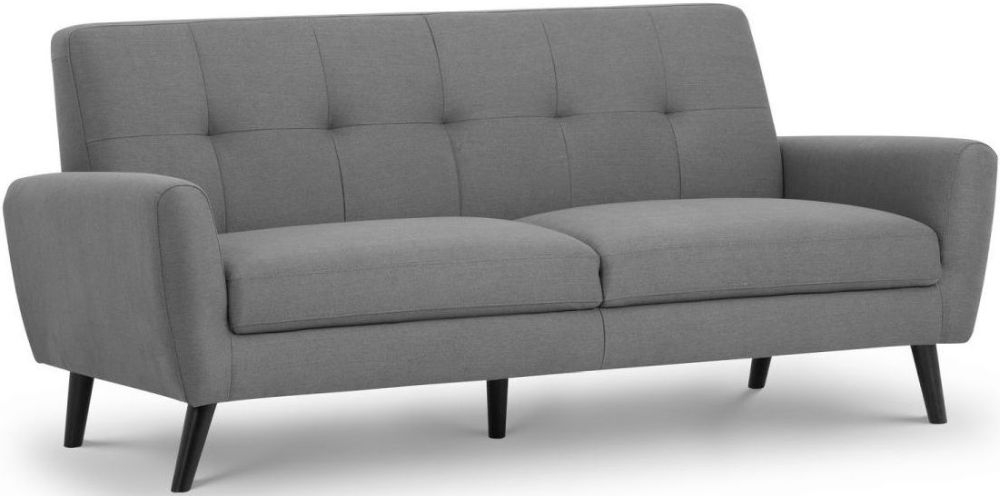 Julian Bowen Monza Grey Linen Fabric 3 Seater Sofa