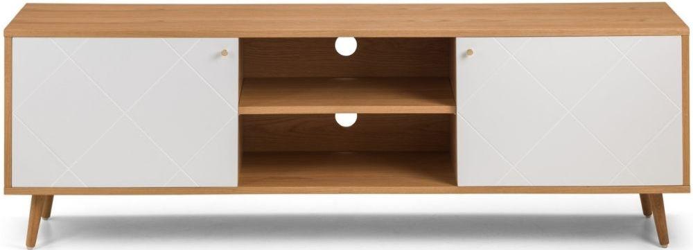 Julian Bowen Moritz Oak and White TV Cabinet