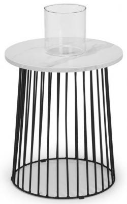 Julian Bowen Broadway White Marble Effect Round Lamp Table