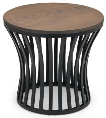 Julian Bowen Washington Mocha Elm and Black Round Lamp Table