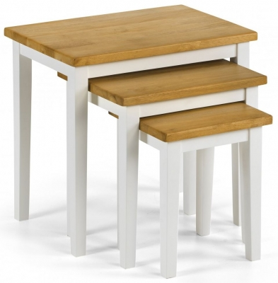 Julian Bowen Cleo White and Oak Nest of Table