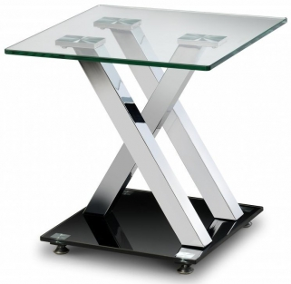 Julian Bowen X-Frame Lamp Table - Glass Top