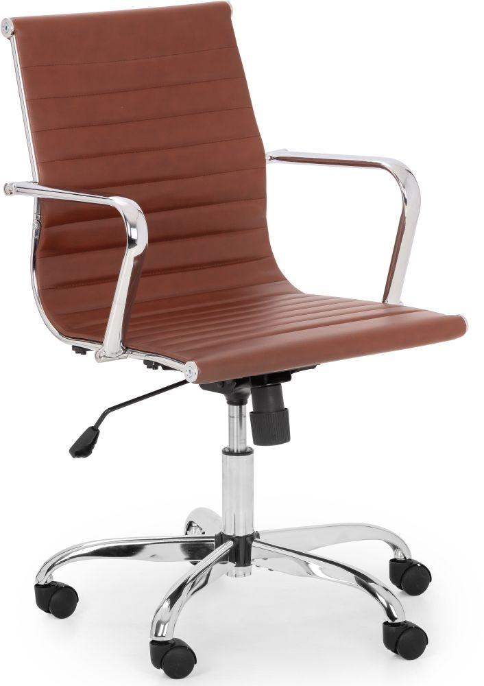 Julian Bowen Gio Brown and Chrome Office Chair