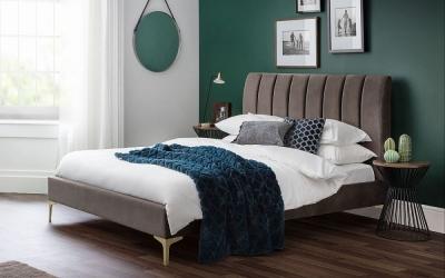 Julian Bowen Deco Grey Velvet Bed
