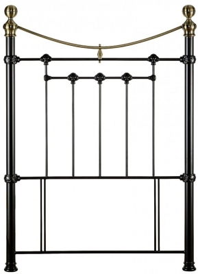 Julian Bowen Victoria Satin Black with Brass Finials Headboard - 3ft Single