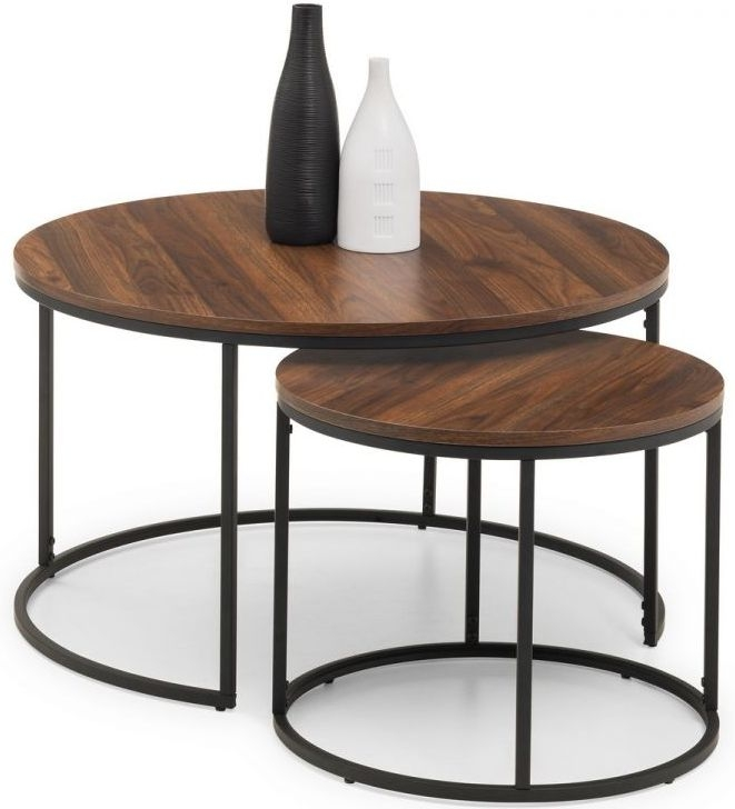 Julian Bowen Bellini Walnut and Metal Round Nesting Coffee Table