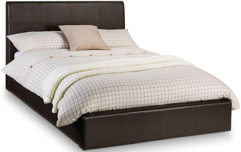 Julian Bowen Phoenix Brown Faux Leather 3ft Single Storage Bed
