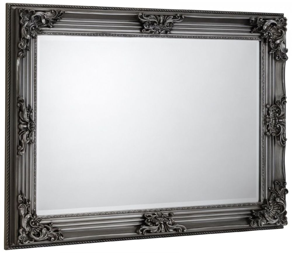 Julian Bowen Rococo Pewter Rectangular Wall Mirror