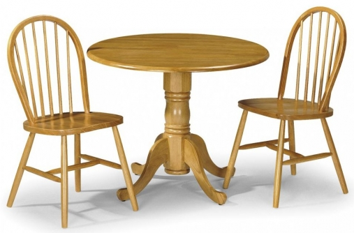 Julian Bowen Dundee Round Drop Leaf Dining Set with 2 Windsor Chairs - 91cm