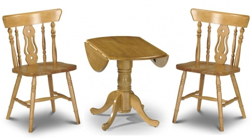 Julian Bowen Dundee Round Drop Leaf Dining Set with 2 Yorkshire Fiddleback Chairs - 91cm