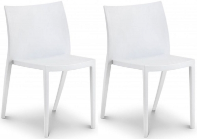 Julian Bowen Fresco White Indoor Outdoor Stacking Dining Chair - (Pair)
