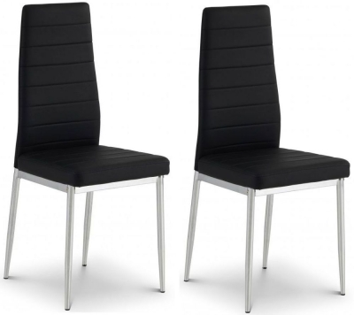 Julian Bowen Greenwich Chrome and Black Faux Leather Dining Chair (Pair)