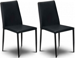 Julian Bowen Jazz Black Faux Leather Dining Chair - Stacking Chair (Pair)