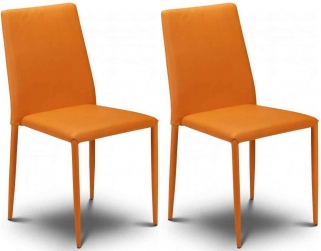 Julian Bowen Jazz Orange Faux Leather Dining Chair - Stacking Chair (Pair)