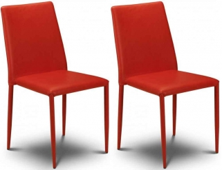 Julian Bowen Jazz Red Faux Leather Dining Chair - Stacking Chair (Pair)