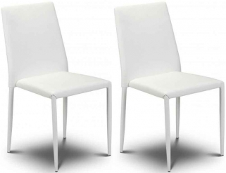 Julian Bowen Jazz White Faux Leather Dining Chair - Stacking Chair (Pair)