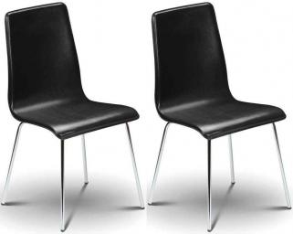 Julian Bowen Mandy Black Leather Dining Chair (Pair)