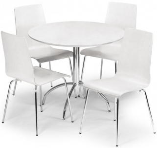 Julian Bowen Mandy White Dining Set - with 4 Chairs