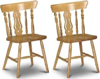 Julian Bowen Yorkshire Honey Pine Fiddleback Dining Chair (Pair)