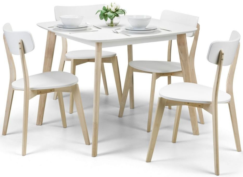 Julian Bowen Casa White Oak Square Fixed Top Dining Set with 4 Chairs - 90cm