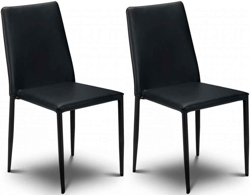 Buy julian bowen jazz black faux leather dining chair for Black leather dining chairs