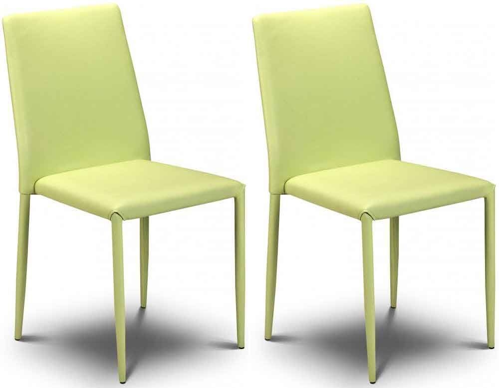 Julian Bowen Jazz Green Faux Leather Dining Chair - Stacking Chair (Pair)